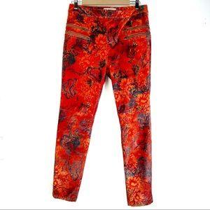 FREE PEOPLE Lennon printed skinny pants 12 velvet